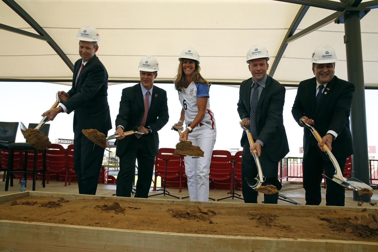 From left: Frisco ISD superintendent Dr. Jeremy Lyon, FC Dallas chairman and CEO Clark Hunt, former member of the U.S. women's soccer tea, Brandi Chastain, FC Dallas president Dan Hunt and Frisco Mayor Maher Maso broke ground for Toyota Stadium in Frisco in May.