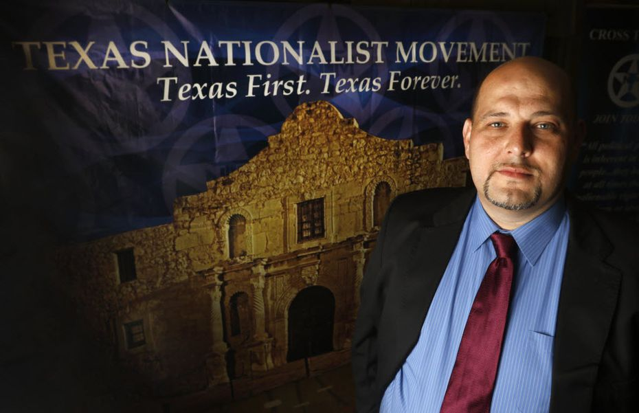 Daniel Miller, president of the Texas Nationalist Movement, at a recruiting meeting in Denton in August 2015.