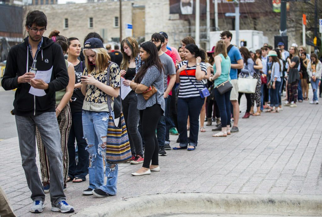 Fans line up to see Grumpy Cat, internet feline sensation, at Friskies Haus of Bacon during the 2015 SXSW interactive and film festival on Sunday, March 15 in downtown Austin.