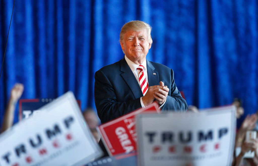 Republican presidential candidate Donald Trump leaves a rally at Grand Junction Regional Airport on October 18, 2016 in Grand Junction Colorado. Trump is on his way to Las Vegas for the third and final presidential debate against Democratic rival Hillary Clinton.