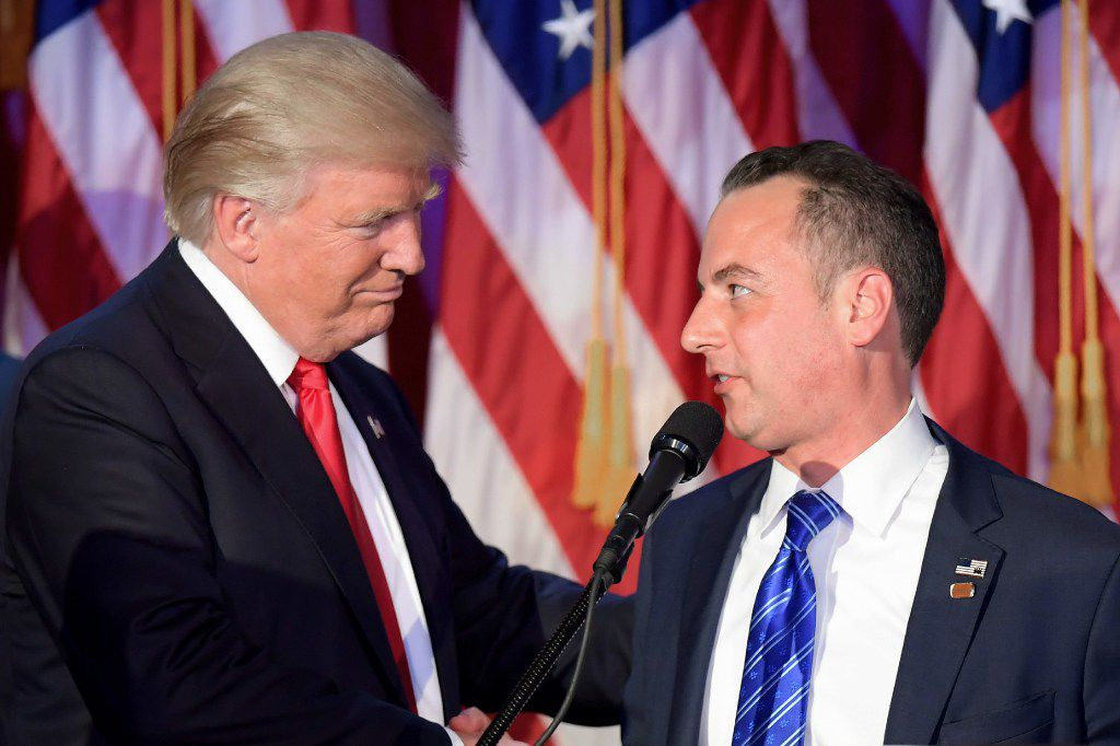 President-elect Donald Trump with Reince Priebus. (Agence France-Presse)