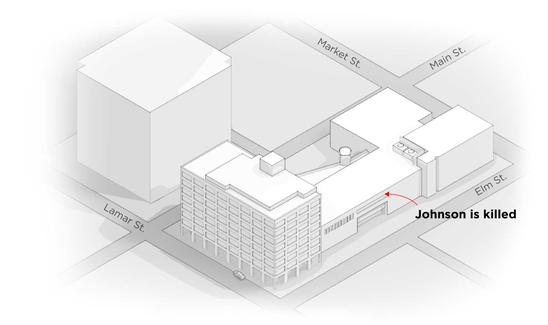 "6) The end:  The standoff starts and ends in the alcove in Building C. Hannigan said because of Johnson's location, ""it was unsafe for any police officer to enter the hallway to reach the subject."" After several hours of negotiations, Dallas police use a robot armed with an explosive to kill Johnson."