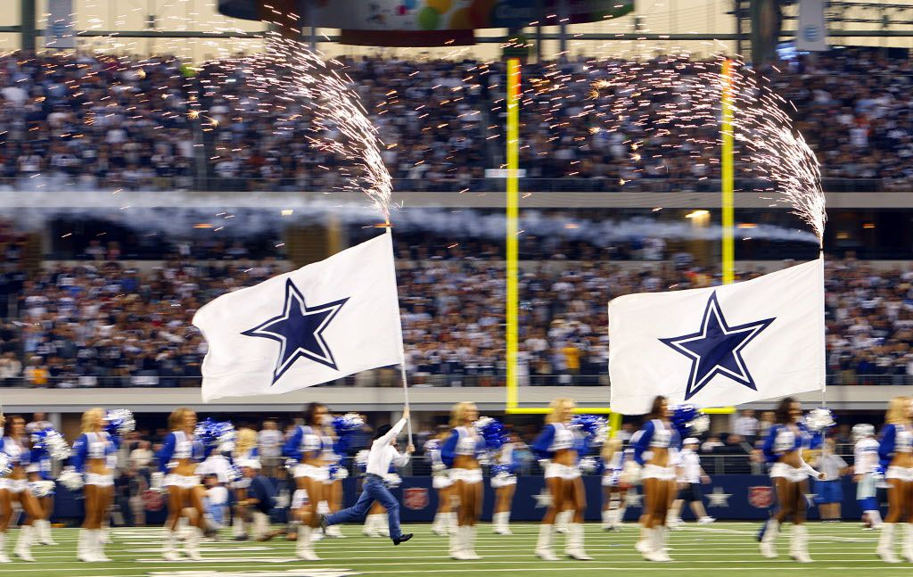 The Dallas Cowboys flag-running crew doing their thing.