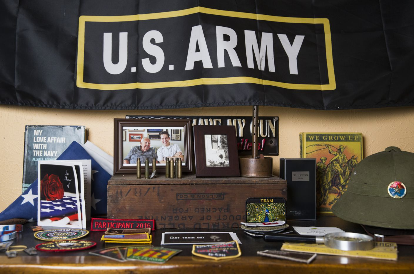 Military memorabilia sits on the dresser of Andy Fancher, 18, on Wednesday, July 12, 2017 at his home in Duncanville.