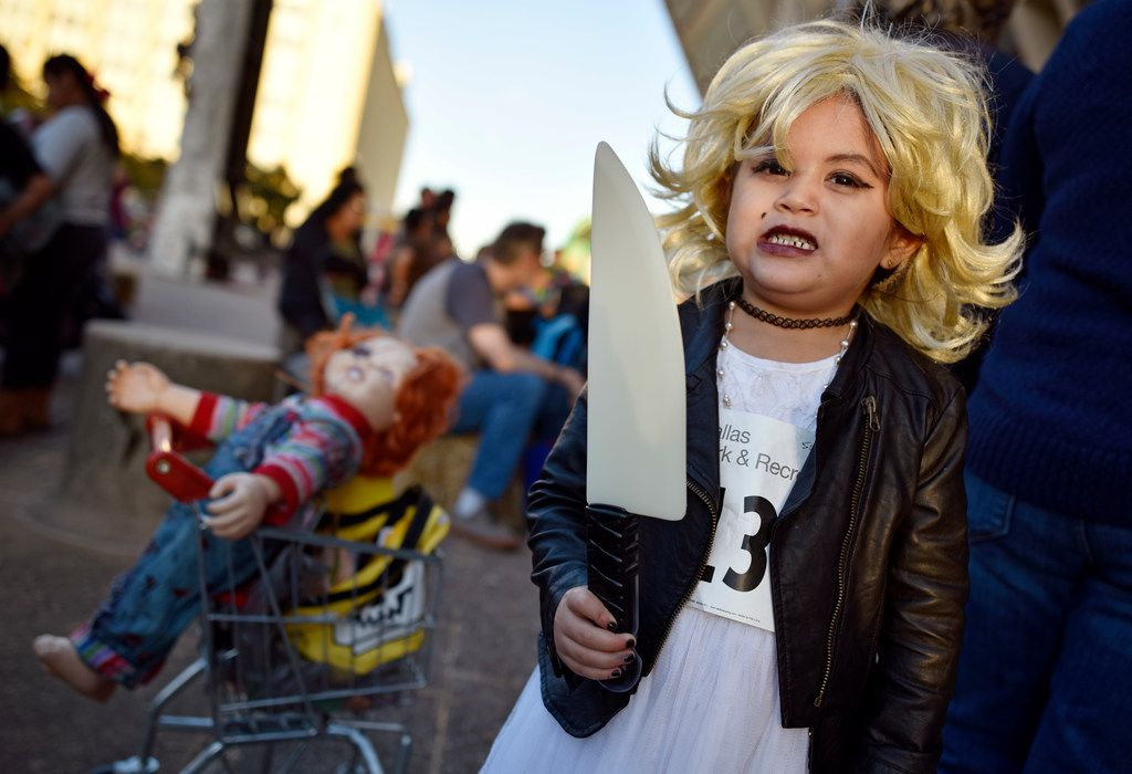She's the Bride of Chuckie at Pumpkins on the Plaza at Dallas City Hall. Photo by Ben Torres for Dallas Morning News.