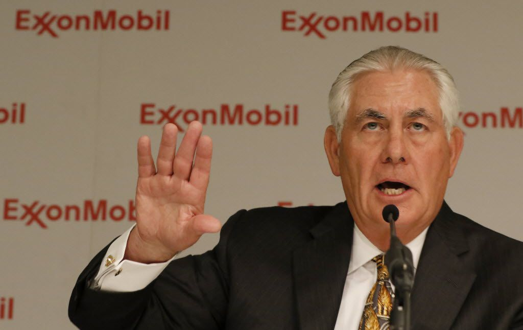 Then ExxonMobil Chairman and CEO Rex Tillerson answered questions during a news conference after the 2016 annual shareholder meeting at Morton H. Meyerson Symphony Center. He has since retired from the company was appointed Secretary of State by President Donald Trump.