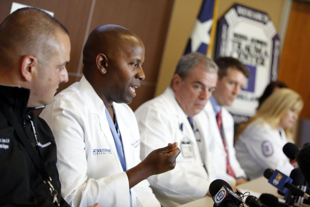 Rees-Jones Trauma Center staff surgeon Brian Williams (second from left) spoke frankly about race during an emotional press conference at Parkland Hospital, Monday, July 11, 2016, about the ambush shooting of Dallas police officers. The trauma team spoke of their experiences in providing emergency care for injured Dallas Police Department and Dallas Area Rapid Transit officers.