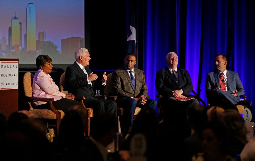 From left: U.S. Reps. Eddie Bernice Johnson, Pete Sessions, Marc Veasey,  and Joe Barton and moderator Brandon Formby of the Texas Tribune took part in a panel at the Dallas Regional Chamber's Congressional Forum at the Hilton Anatole in Dallas on Wednesday.