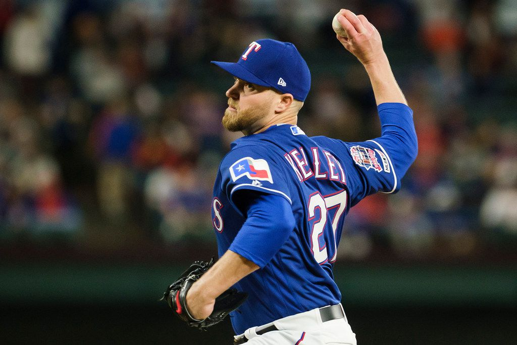 Texas Rangers pitcher Shawn Kelley throws during the eighth inning against the Houston Astros at Globe Life Park on Wednesday, April 3, 2019, in Arlington. (Smiley N. Pool/The Dallas Morning News)