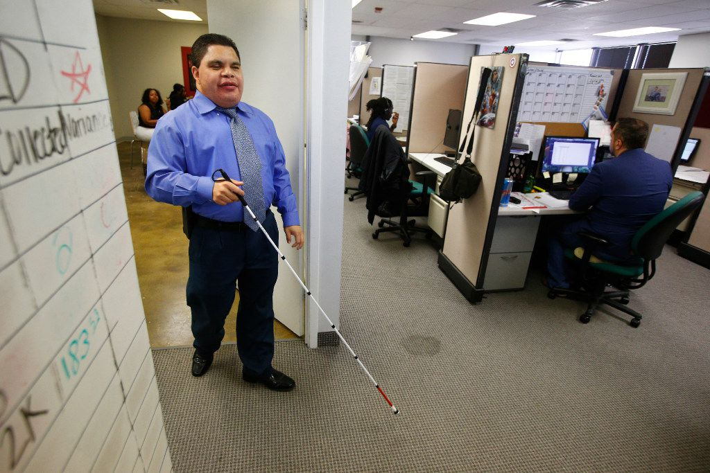 Al Rodriguez says working in the call center at Bold Sales Solutions, a subsidiary of Dallas Lighthouse for the Blind in Dallas, is his new chapter in life.