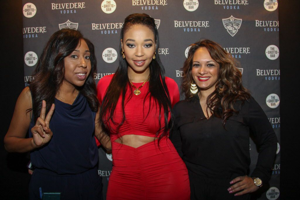 Nina Zavala, DJ Duffey and Tina Tremble on the red carpet at the party.