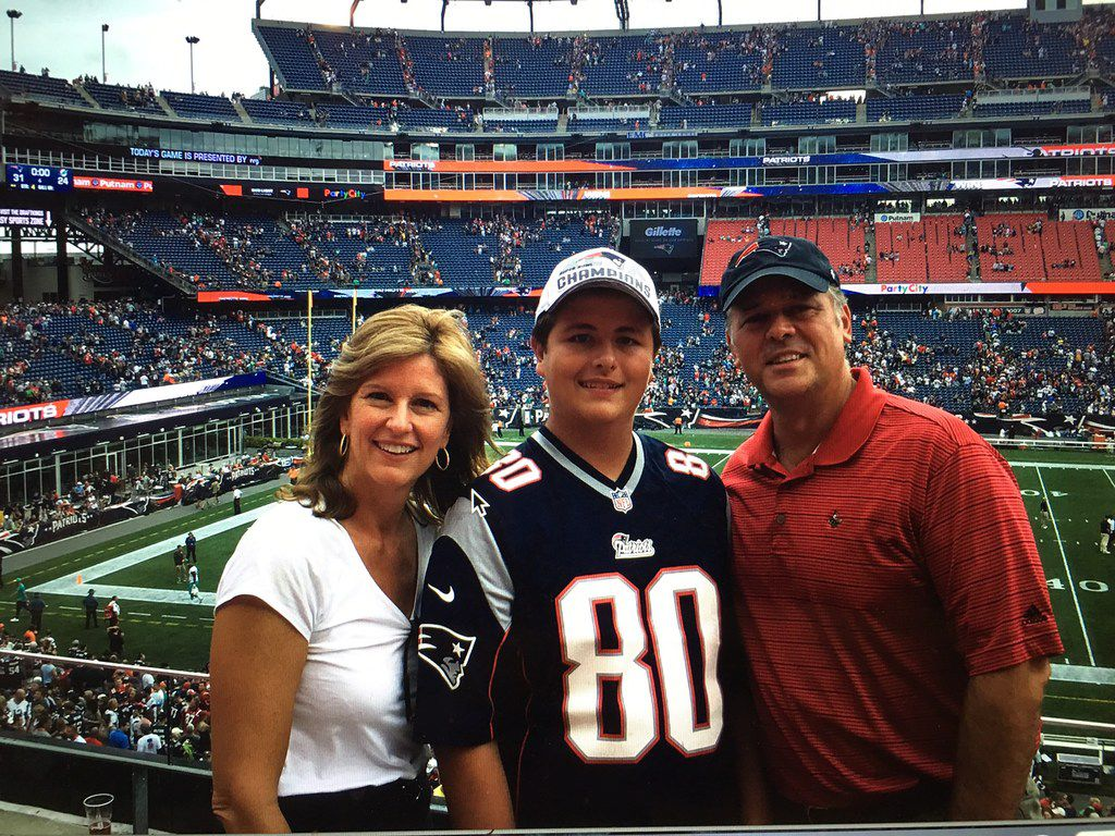 Kathleen Murphy with her son Jack Hornyak and husband George Hornyak at a New England Patriots game at Gillette Stadium in 2016.