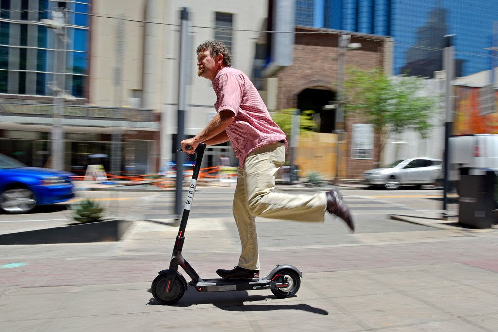 Vyrl Naumann, 52, of Prosper test rode a Bird electric scooter in downtown Dallas last June, which is when the Dallas City Council voted to lift the city's ban on e-scooters from public byways. That suspension was later extended through November 2019. Now state Sen. Royce West seeks some state regulation of e-scooter riders.