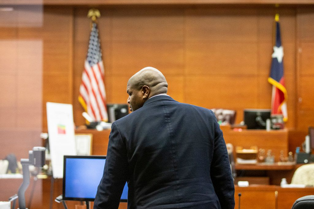 Josh Brent enters the courtroom at George Allen civil courthouse in Dallas on Monday, December 10, 2018. Josh Brent drove drunk and caused a crash that killed Stacey Jackson's son Jerry Brown. Jackson is suing Brent and the bar that served him.