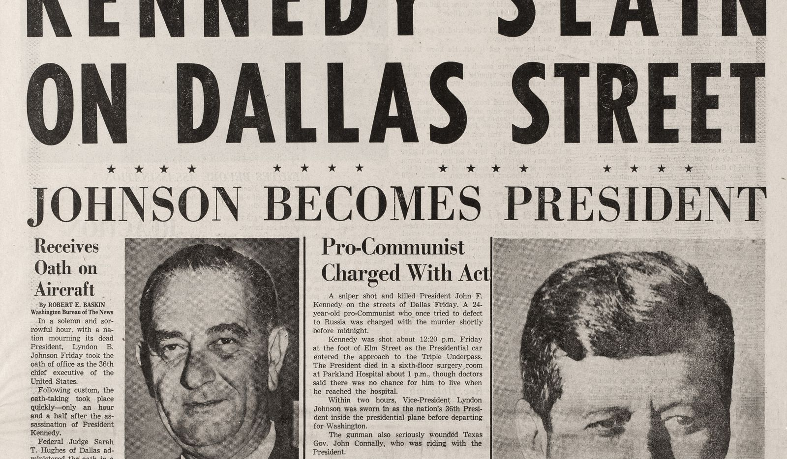 Copy photos of the November 23, 1963 issue of The Dallas Morning News, photographed March 6, 2013.  (Evans Caglage/The Dallas Morning News)   -- JFK, President John F. Kennedy, Pres. Kennedy, newspaper, DMN, historic paper  -- Kennedy Slain on Dallas Street -- JFK shot , assassination, assassinated front page, page one, 1A, page 1, cover, kennedy shot