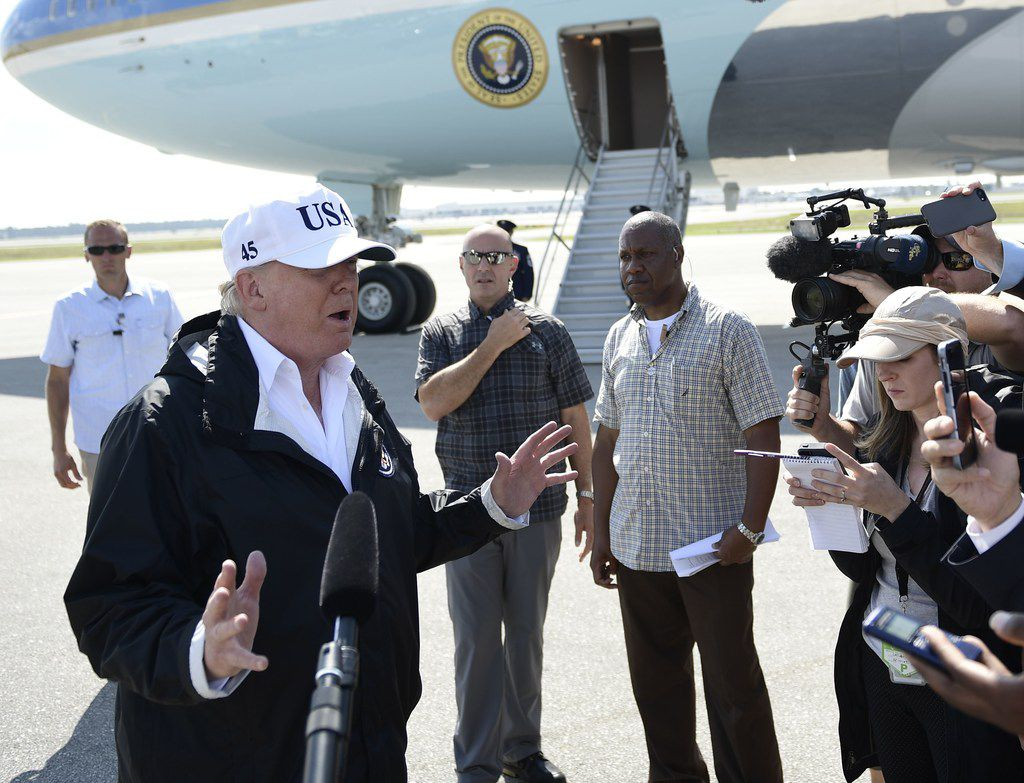 President Donald Trump addressed reporters as he arrived in Fort Myers, Fla., on Thursday. (Brendan Smialowski/Agence France-Presse)