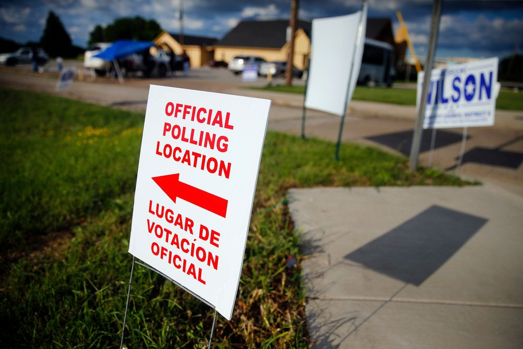 An election sigh is posted outside New Covenant Christian Fellowship Church where Dallas City Council member Tennell Atkins is running against former Deputy Mayor Pro Tem Erik Wilson in Dallas, Saturday, May 4, 2019. (Tom Fox/The Dallas Morning News)