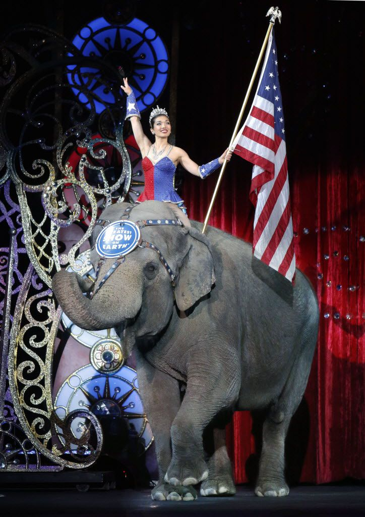 An Asian elephant performed during the national anthem at the animals' final Ringling Bros. performance on Sunday.