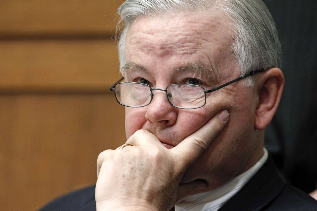 In this 2010 file photo, Rep. Joe Barton, R-Texas, listens to opening statements from members of Congress