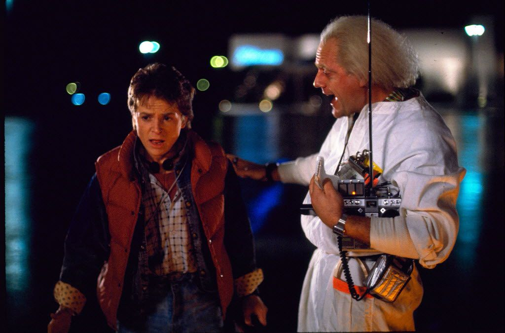 """Michael J. Fox, left, as Marty McFly, and Christopher Lloyd as Dr. Emmett Brown, in a scene from the 1985 film, """"Back to the Future."""""""