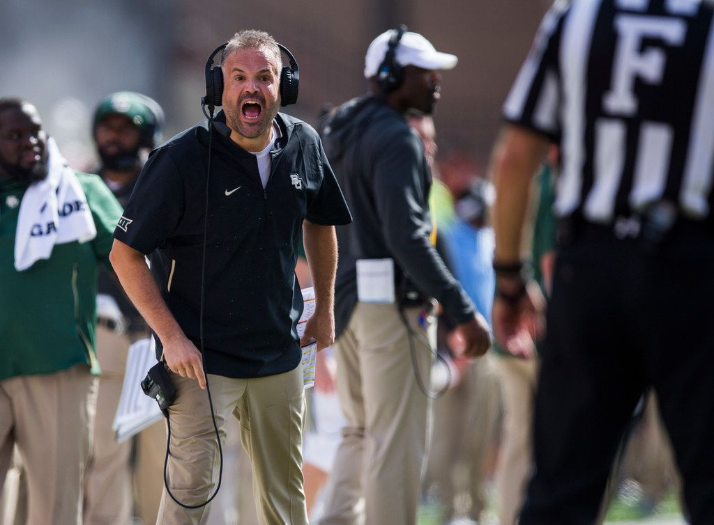 Coach Matt Rhule, seen here during a game with Texas this season, will returning to Baylor for a third season. (Ashley Landis/The Dallas Morning News)