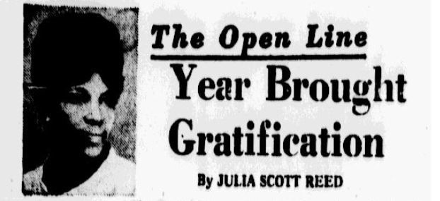 "Dec. 25, 1968 edition of Julia Scott Reed's column ""The Open Line"""