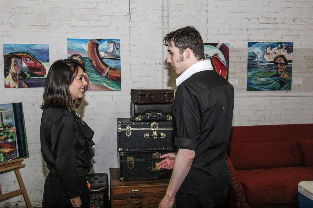Karla Ceballos chats with Stuart Burne at the Continental Gin Building in Deep Ellum Open Studios on April 18, 2015