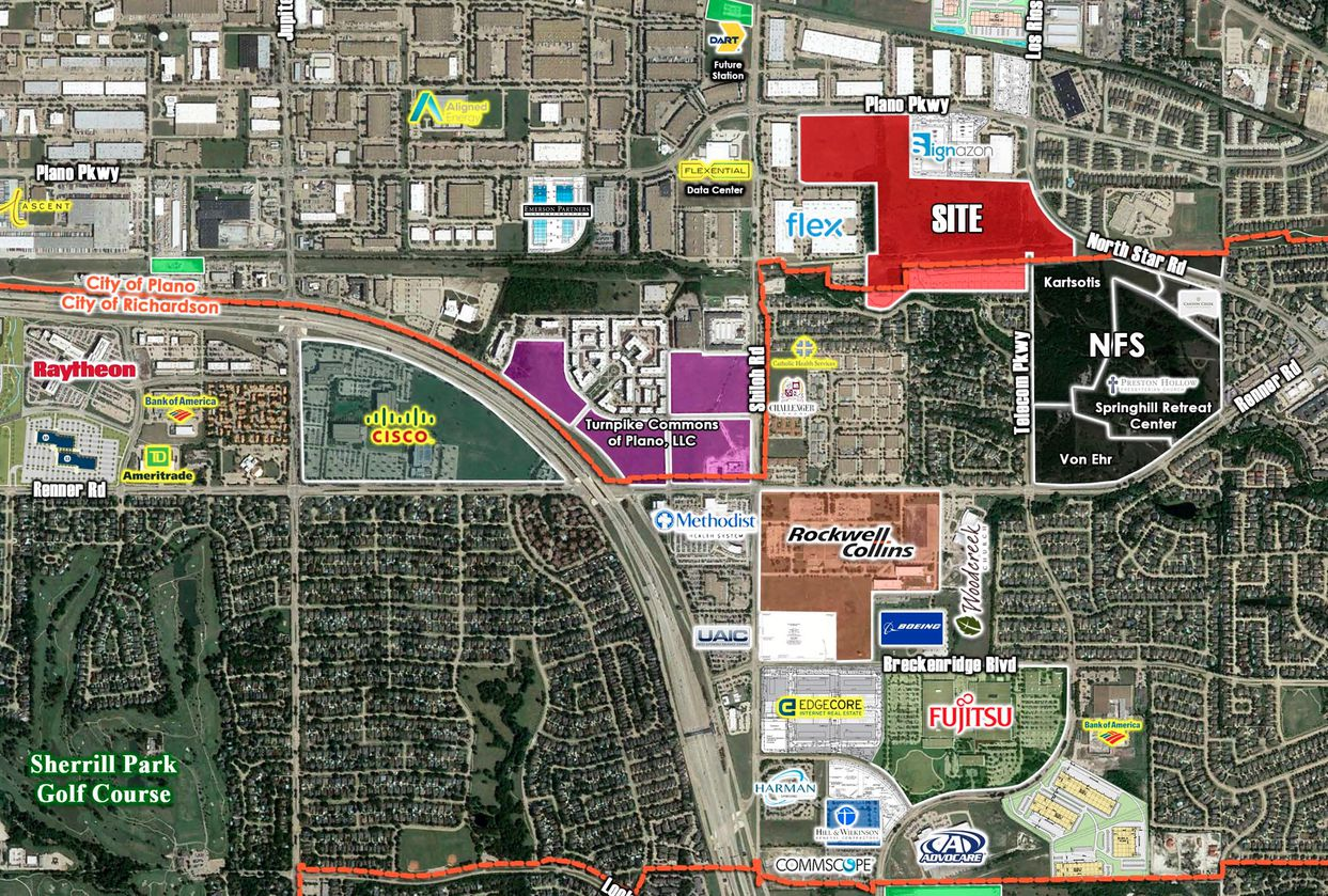 The development site, marked in red, is just east of Bush Turnpike.
