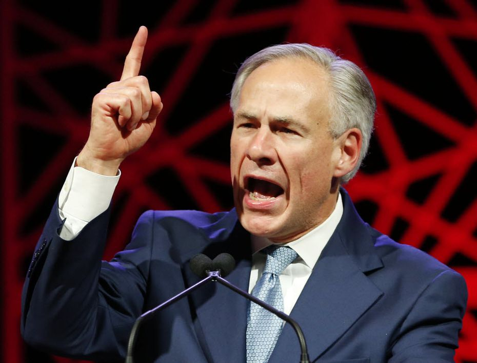 Governor Greg Abbott speaks during the 2016 Texas Republican Convention in Dallas.