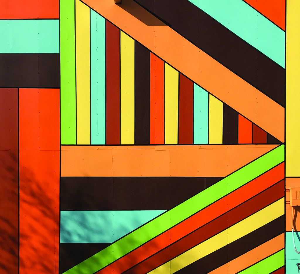 The work in Celina is a bright, geometric mural, inspired by shapes and colors the artist saw in the community.