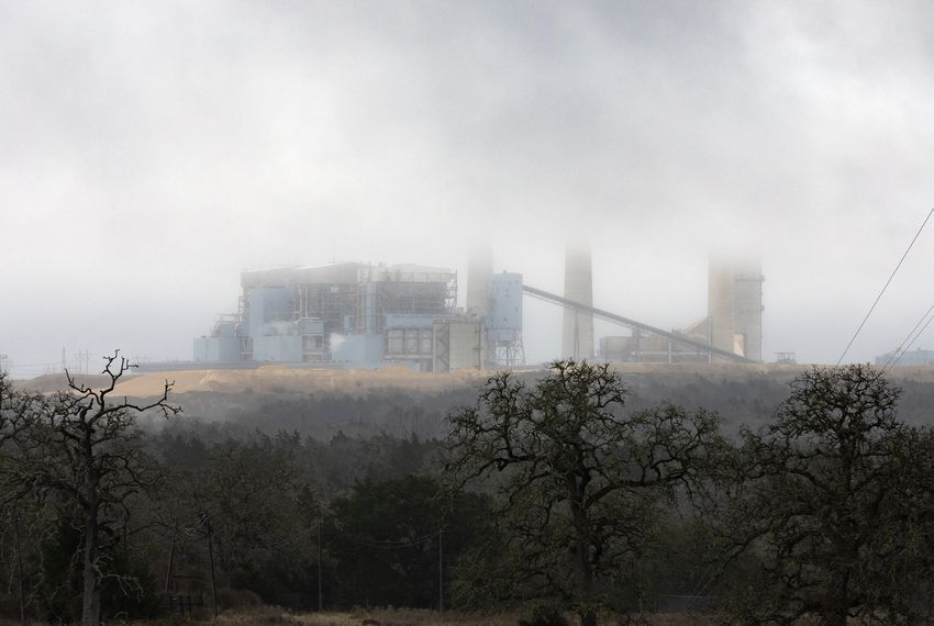 The Fayette Power Project Plant, a coal-fired power plant near La Grange, in Fayette County, is one of 16 Texas coal plants targeted in a new report that claims plant waste pits are leaching pollution into groundwater. (Miguel Gutierrez Jr./The Texas Tribune)