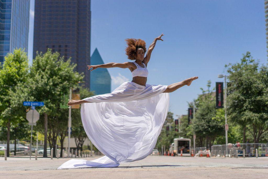 This shot depicts a performance by Dallas Black Dance Theatre.