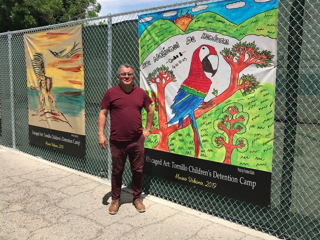 """1. El Paso historian David Romo is co-curator of the """"Caged Art"""" exhibition, which opened at UTEP's Centennial Museum and will also open in a separate exhibit May 4th in the historic El Paso neighborhood of Duranguito, where many Central Americans migrants are daily dropped off. The teenagers created the art work while in federal detention at the Tornillo camp.4/23/19"""