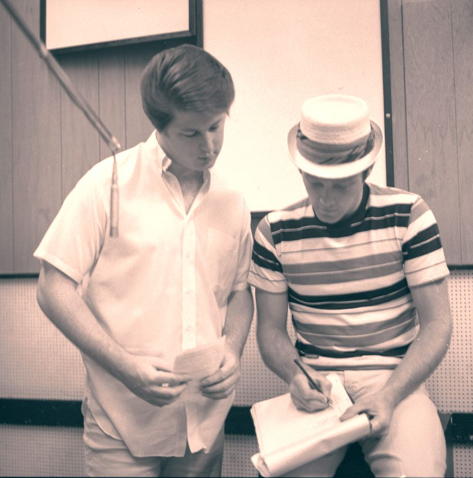 """Brian Wilson and Mike Love in a recording session, in an image from Love's memoir """"Good Vibrations: My Life as a Beach Boy."""""""