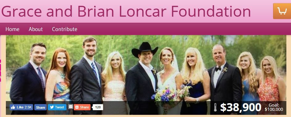 A screenshot of the Grace and Brian Loncar Foundation website.