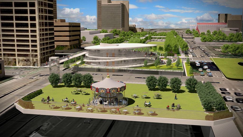 Renderings show the planned expansion of Klyde Warren Park in Dallas. The expansion will include a pavilion containing a visitors center and a parking garage.