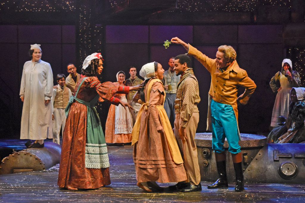(from l-r) Liz Mikel, Gabrielle Reyes, Ace Anderson and Chamblee Ferguson perform in Dallas Theater Center's 'A Christmas Carol' at the Wyly Theatre in Dallas Nov. 23-Dec. 28, 2016.