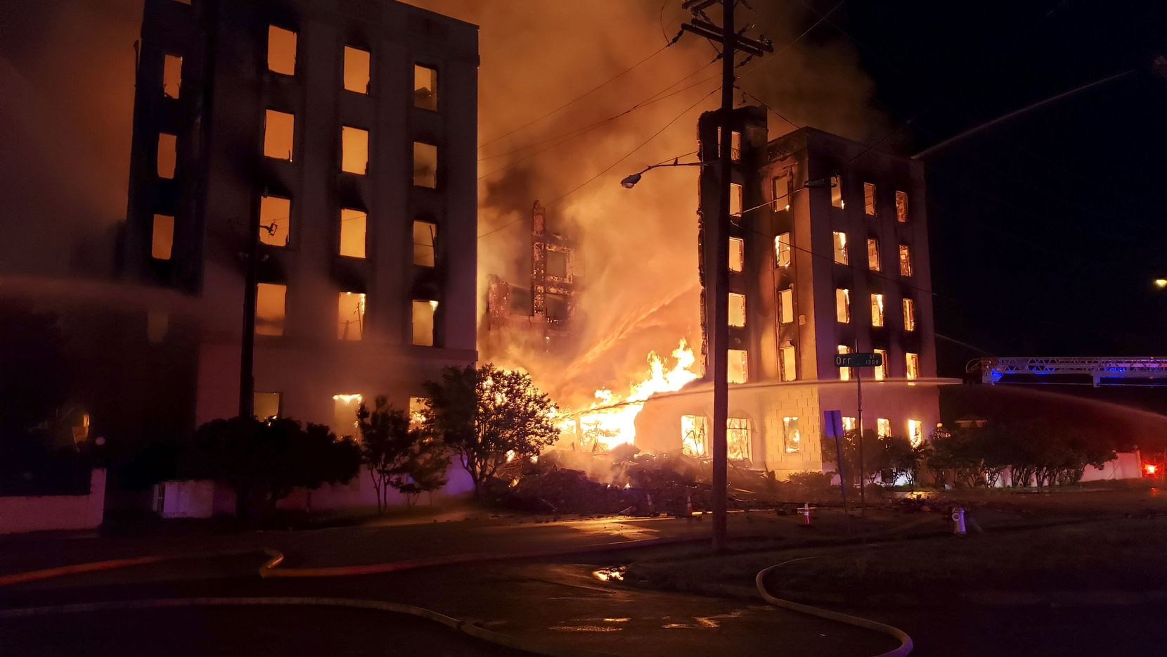 The vacant Ambassador Hotel, a 115-year-old historic structure in the Cedars neighborhood just south of downtown Dallas, was gutted by fire Tuesday morning, May 28. 2019.