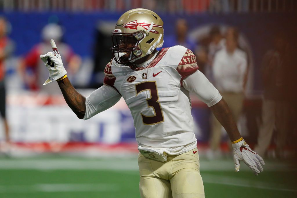 ATLANTA, GA - SEPTEMBER 02:  Derwin James #3 of the Florida State Seminoles reacts after a play against the Alabama Crimson Tide during their game at Mercedes-Benz Stadium on September 2, 2017 in Atlanta, Georgia.  (Photo by Kevin C. Cox/Getty Images)