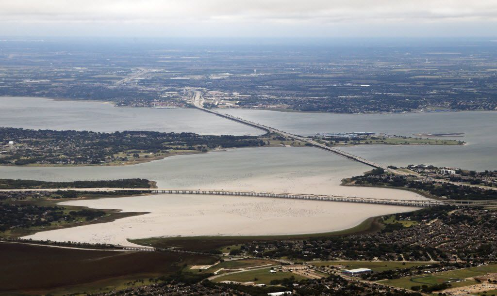 Lake Ray Hubbard looking eastbound towards Rockwall from a flight to Dallas Love Field