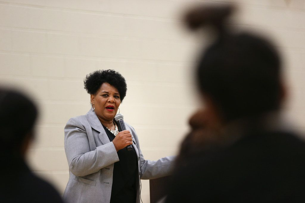 Alice Marie Johnson, a woman who was pardoned for a low-level drug offense by President Donald Trump after Kim Kardashian advocated for her case, speaks to girls at Letot, a Dallas County detention center for female juveniles on Wednesday,