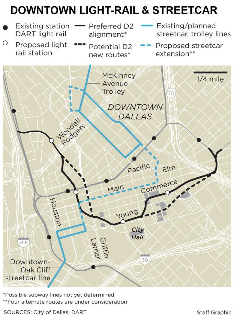 DART is also planning to add a second light-rail downtown and expand the central business district's streetcar network. Many want that second light-rail line, called D2, to be a subway.