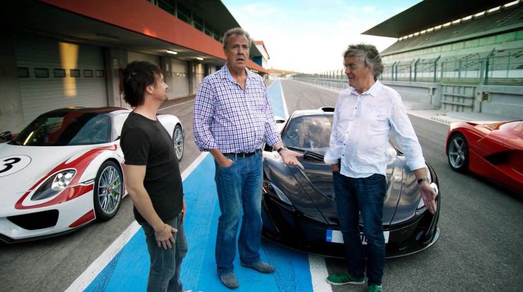 From right: Richard Hammond, Jeremy Clarkson and James May.