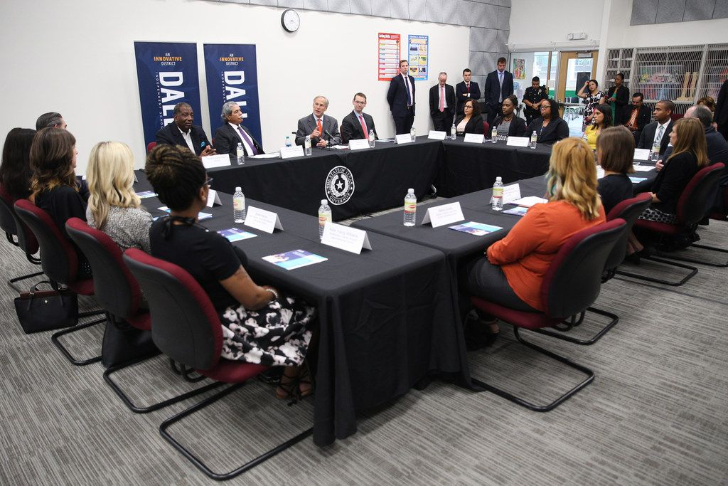 Governor Greg Abbott meets with teachers and school administrators during a visit to Dallas ISD Solar Preparatory School for Girls on Tuesday, August 21, 2018 in Dallas. (Ryan Michalesko/The Dallas Morning News)