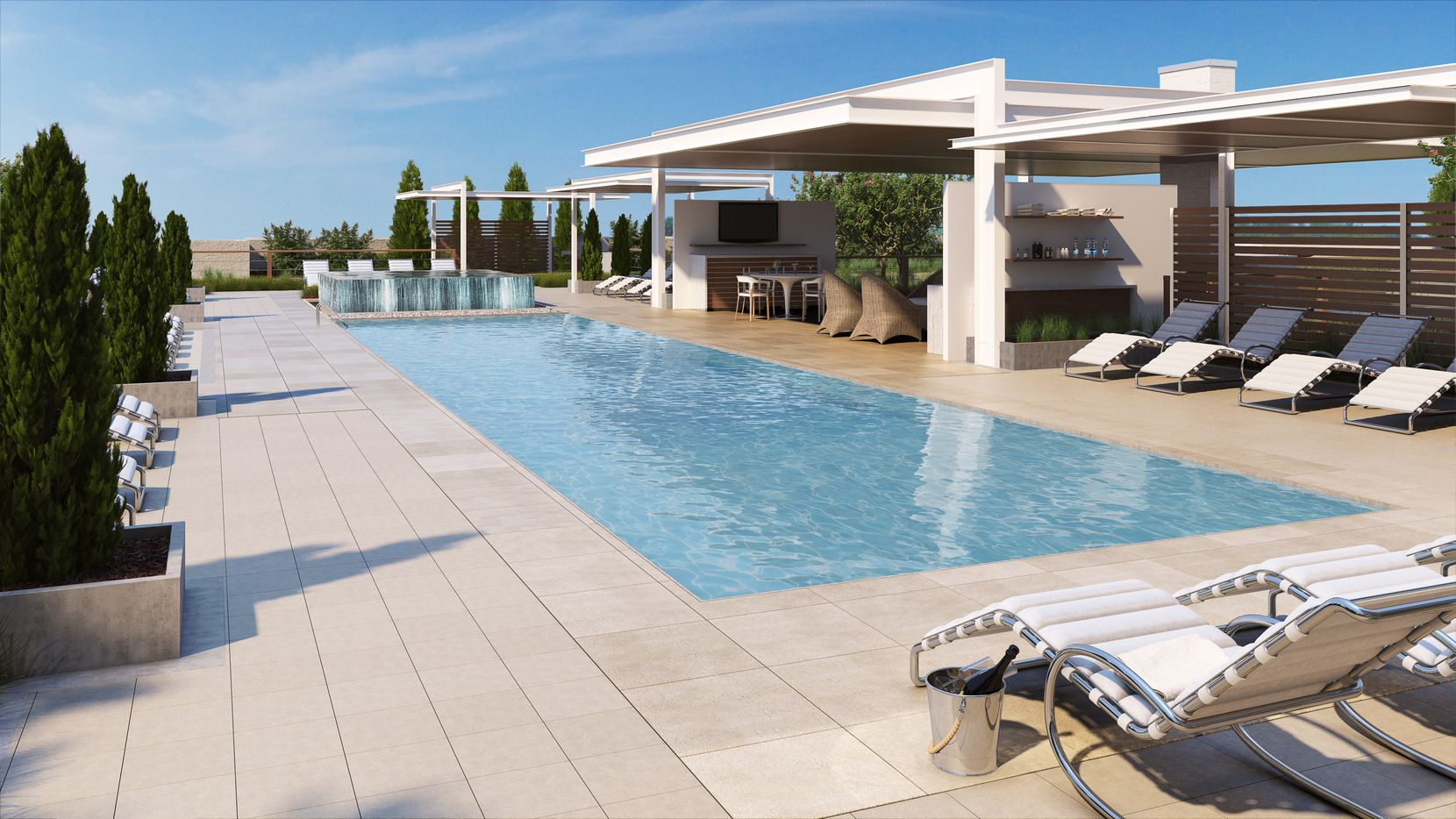 Artists rendering of pool deck at Windrose Tower.