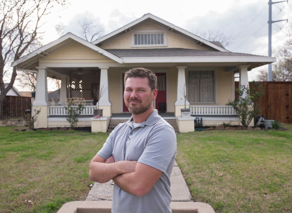 Dale Adams and his wife have lived in this 1915 Craftsman home for 10 years.  Their two-block street of Craftsman-style houses in Garland has been added to the National Register of Historic Places.