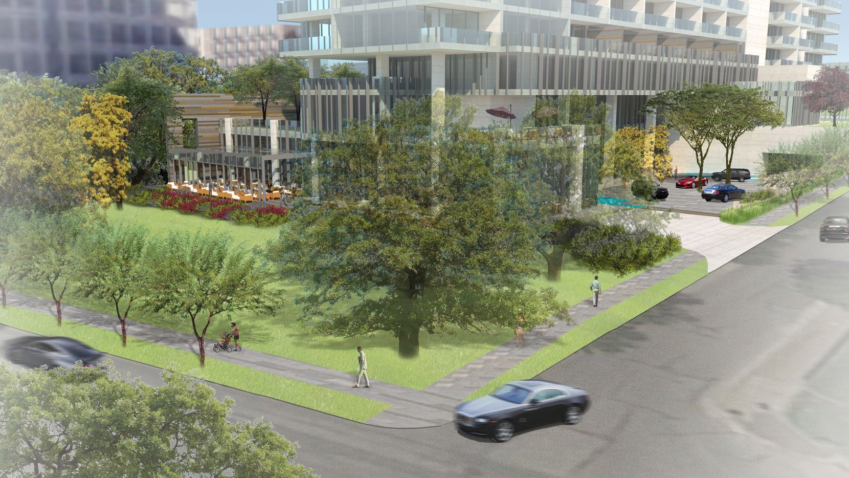 The developers plan to keep the half-acre lawn at the front of the property.
