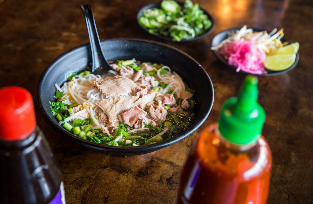 Make easy beef pho at home with broth, sliced meat and garnishes.