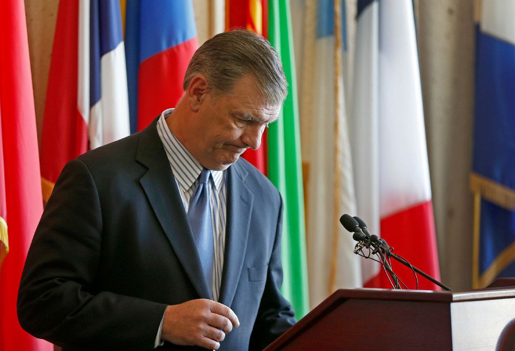 Mayor Mike Rawlings spoke to the media about the 911 issue at Dallas City Hall last week. (Jae S. Lee/Staff Photographer)