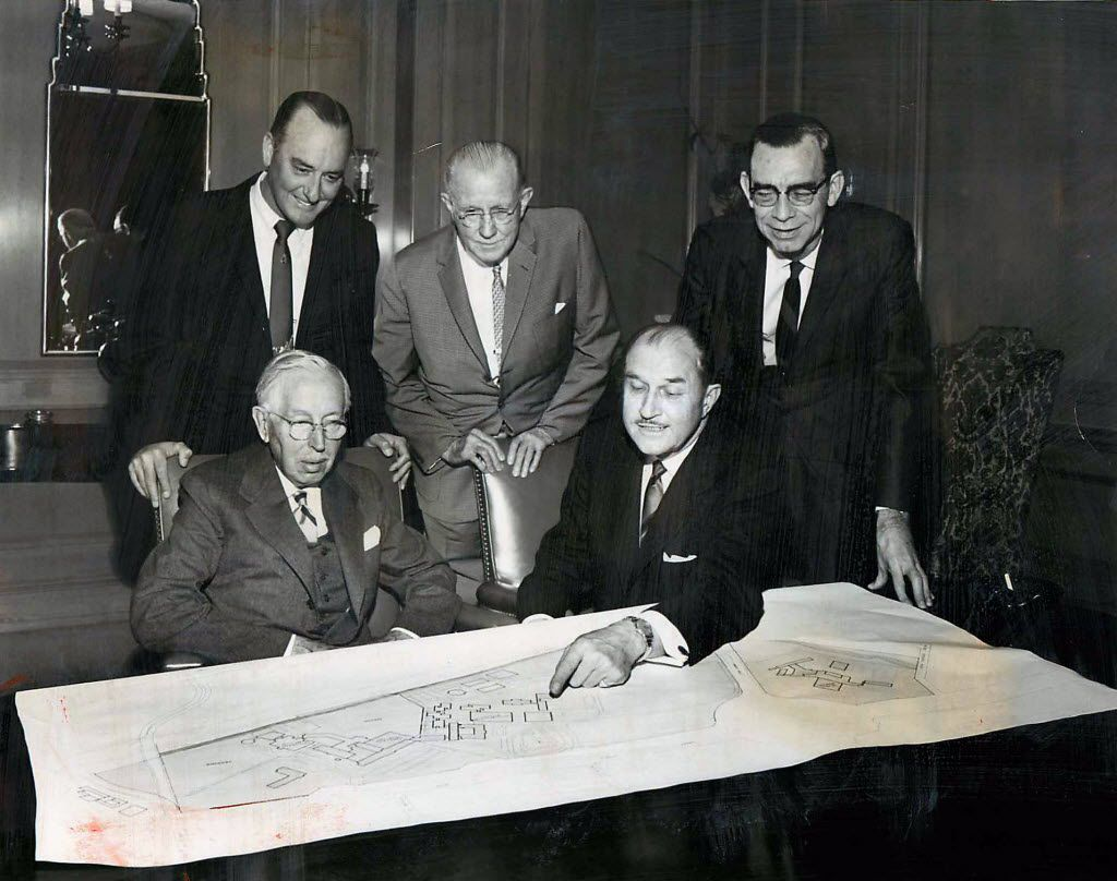 The Southwestern Medical Center Council officers elected in 1965 were: from left, seated, Karl Hoblitzelle and George L. MacGregor; and standing, Joe M. Dealey, Edward R. Maher and Dr. L. D. Maskew.